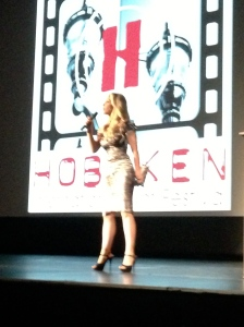 Writer and Star Rachael Robbins, introducing Scavenger Killers at the Hoboken International Film Festival.